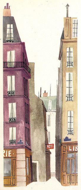 """This is Paris"", illustrations by Miroslav Sasek. Rue de Chat qui Pêche by Ωméga *, via Flickr"