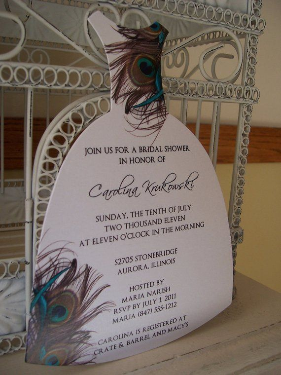 Peacock Bridal Shower Invitation---Custom Die Cut Dress in 2018