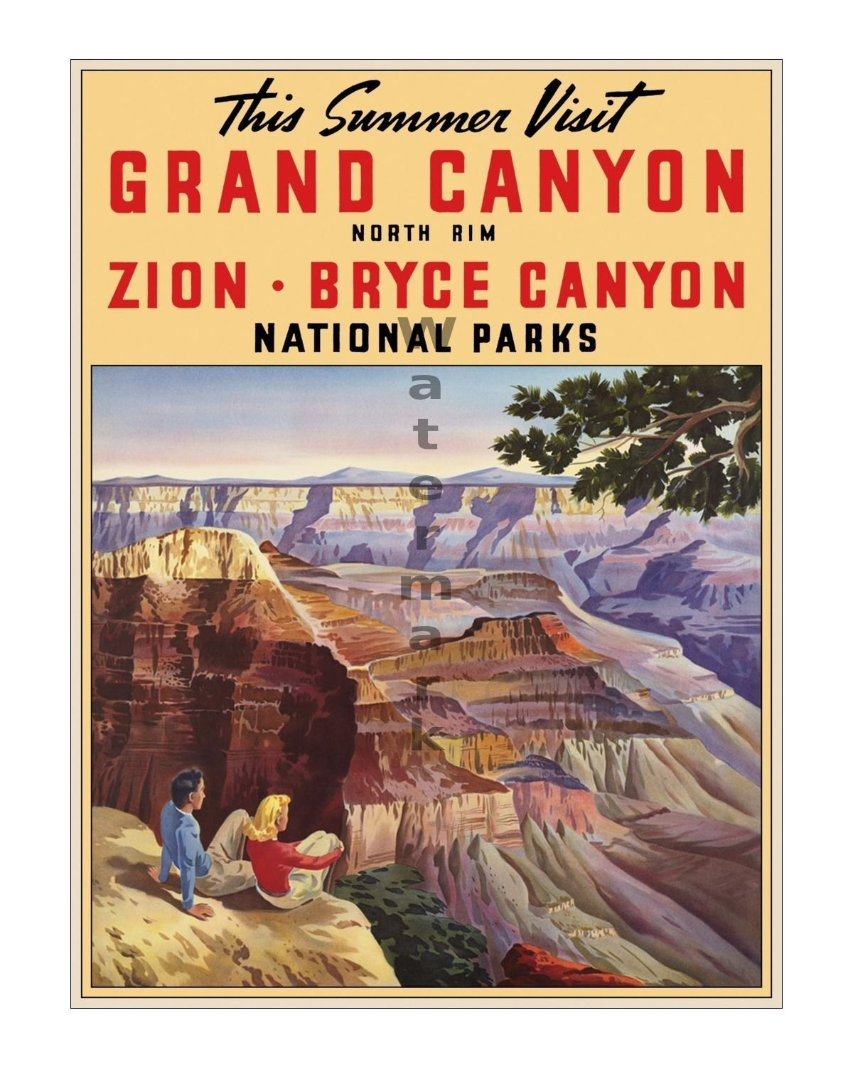 4 sizes, matte+glossy avail Vintage Travel Poster Bryce Canyon Grand Canyon