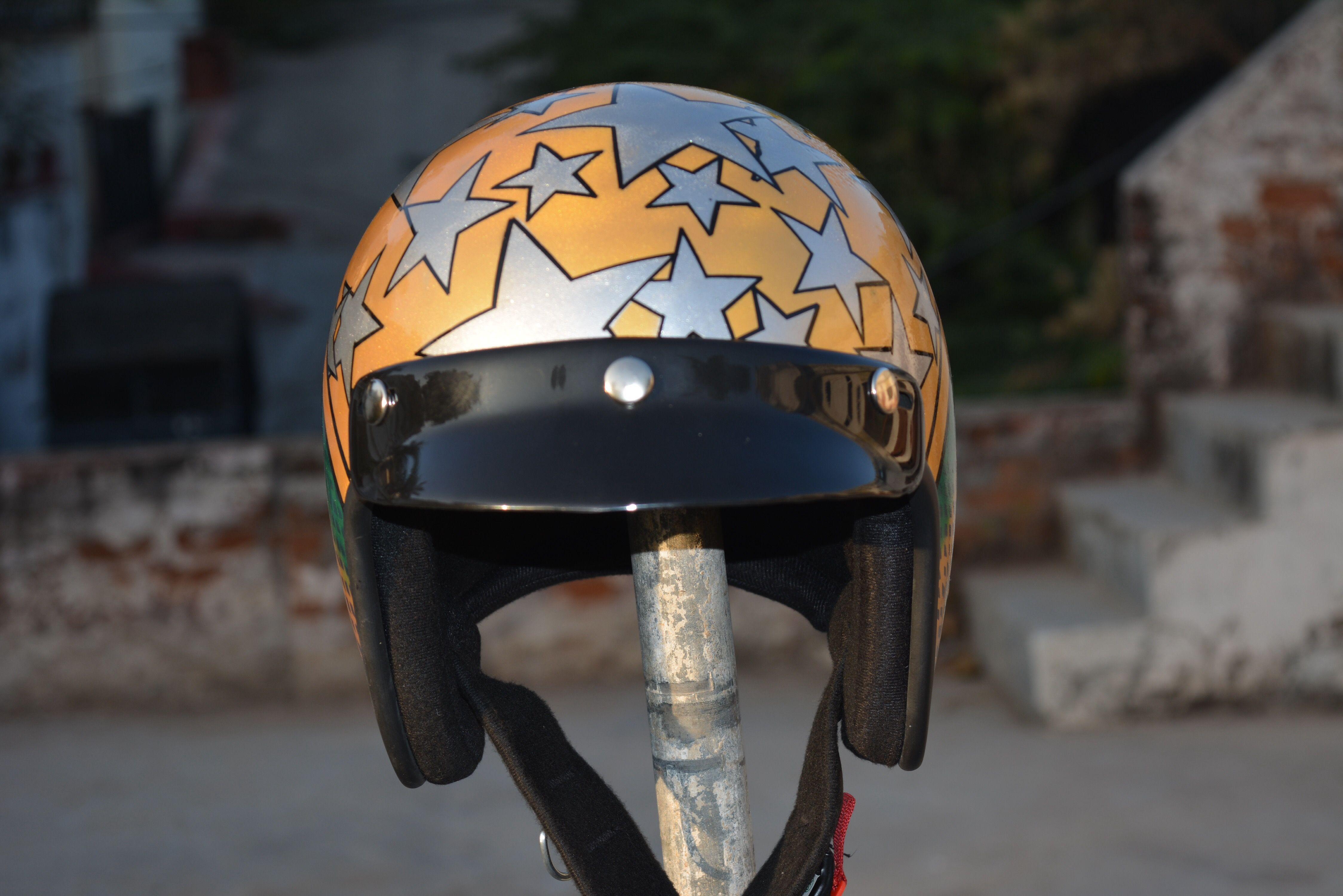 For Sale Brand New Custom Helmet Follow On Instagram Rbcustoms Helmets Custom Customhelmet Gold Stars Bike Bi With Images Custom Helmets Helmet Harley Davidson