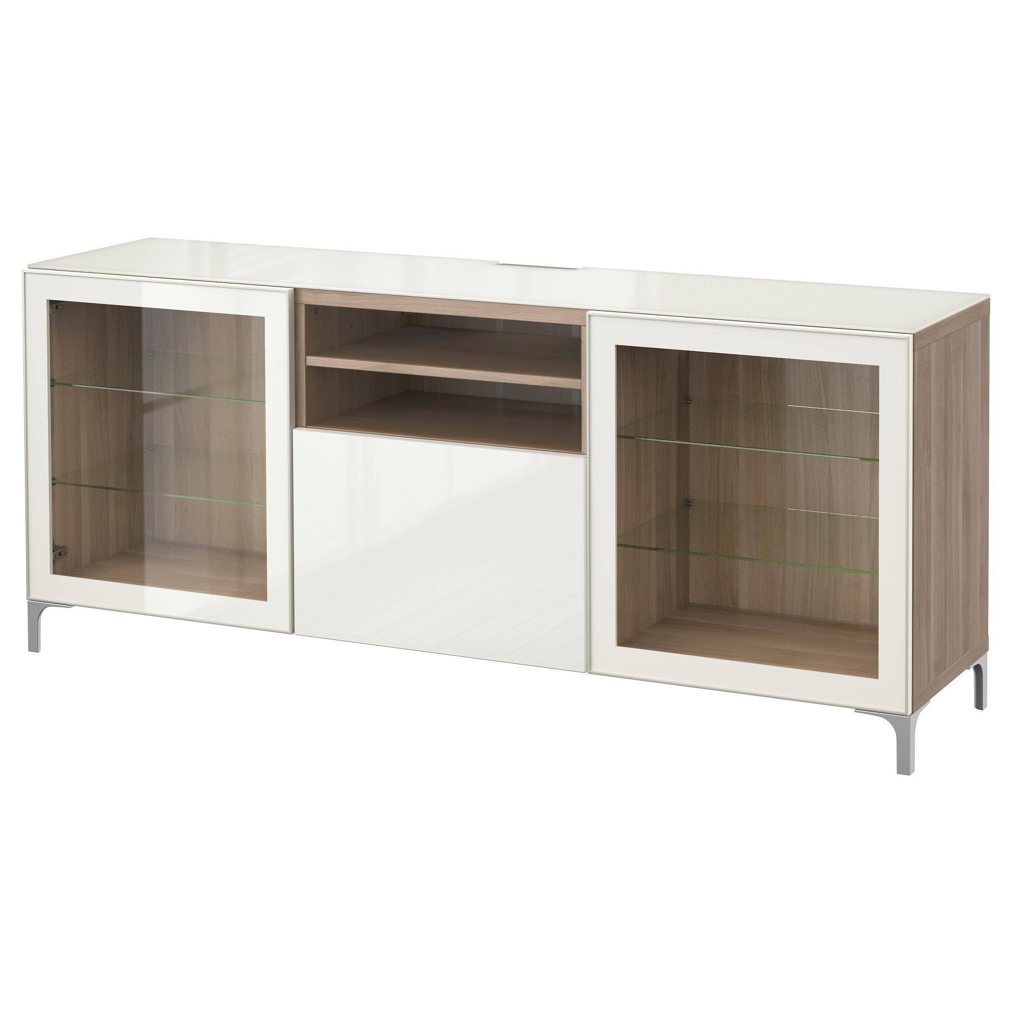 Best Tv Meubel Marviken Wit Helder Glas Laderail  # Meuble Tv Modulable Ikea