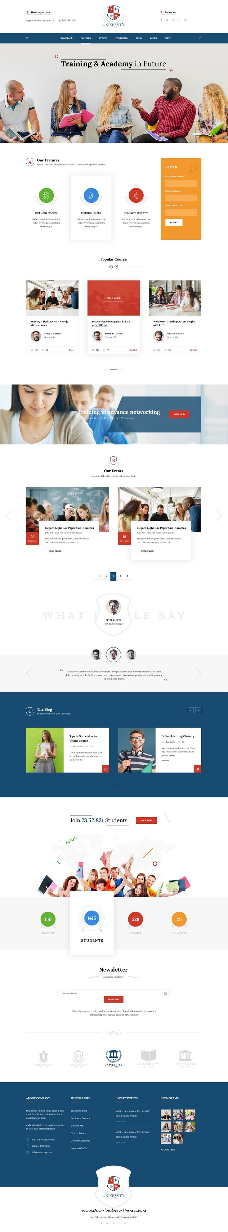 University Is Clean And Modern Design Psd Template For College Online Course Academy And Education Website With 6 Homep Psd Templates Templates Web Design