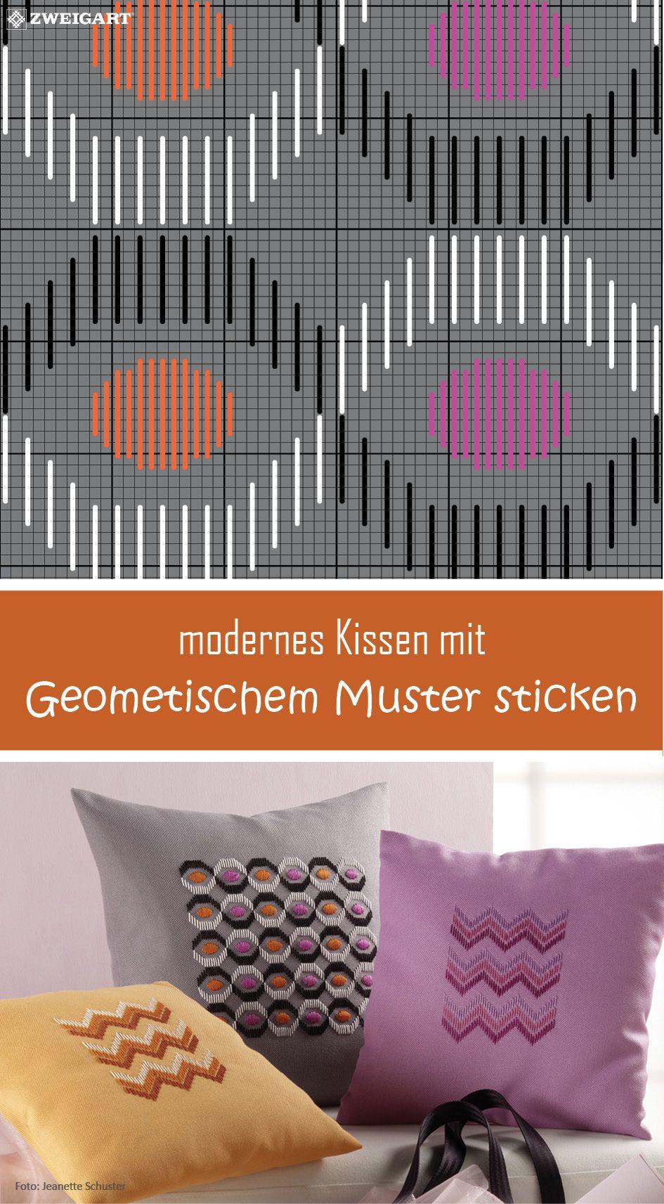 Kissen mit geometrischem Muster sticken - Entdecke zahlreiche ...