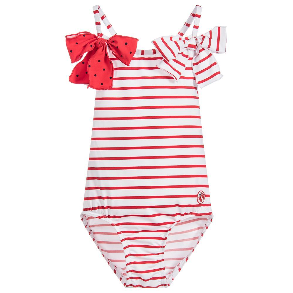 Girls red and white striped swimsuit by Tutto Piccolo. Made in stretch  lycra ae21bfffaeae9