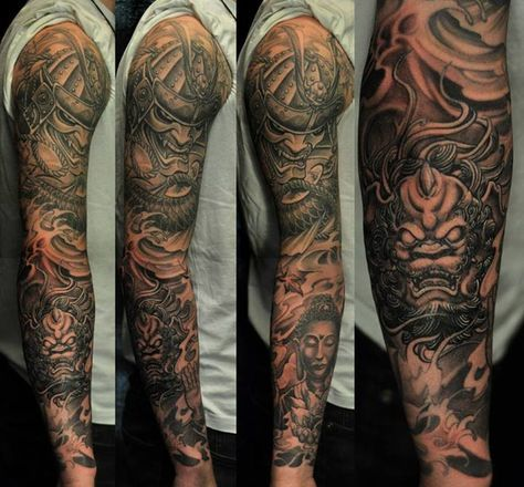 Full sleeve black and grey hannya mask and foo dog tattoo for Merlion tattoo images