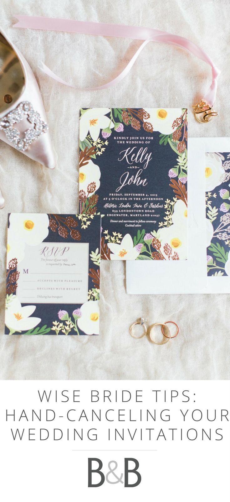 wise bride tips hand canceling wedding invitations - Hand Cancelling Wedding Invitations