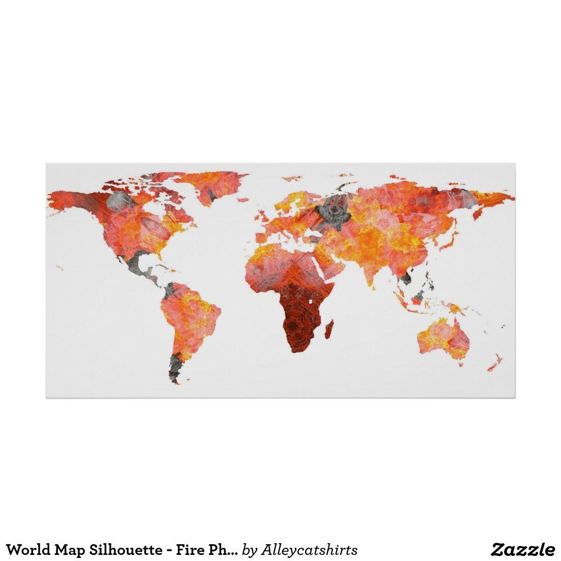 World Map Silhouette Fire Photographic Mandala Poster World Map - World map silhouette poster