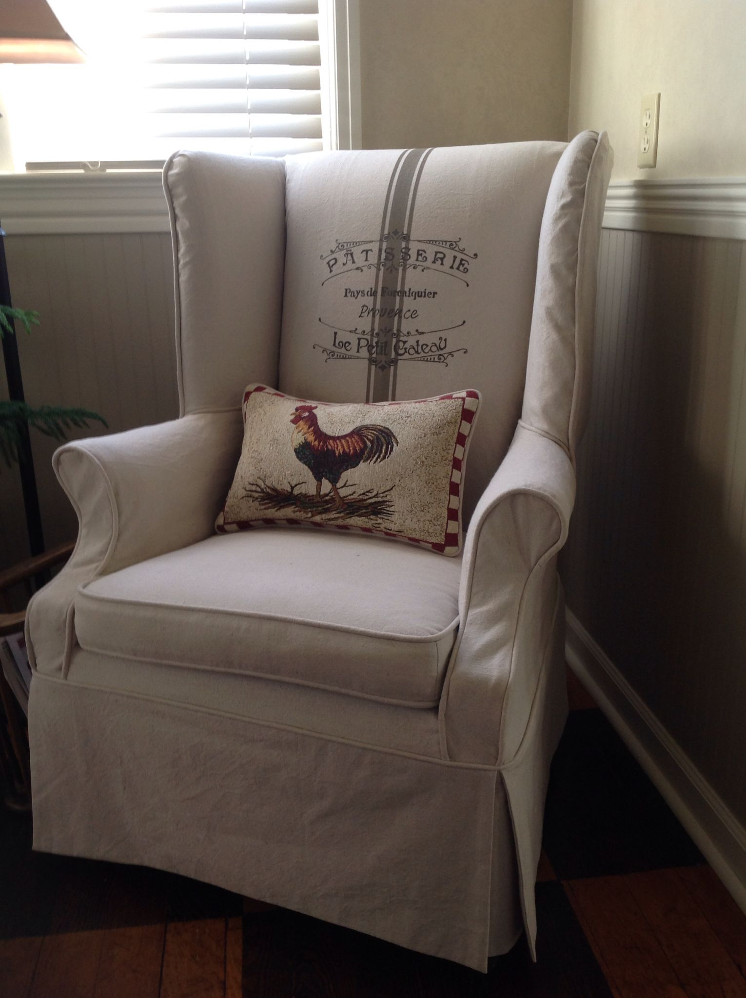 Wingback Chair Slipcover In Painters Drop Cloth With French Bakery