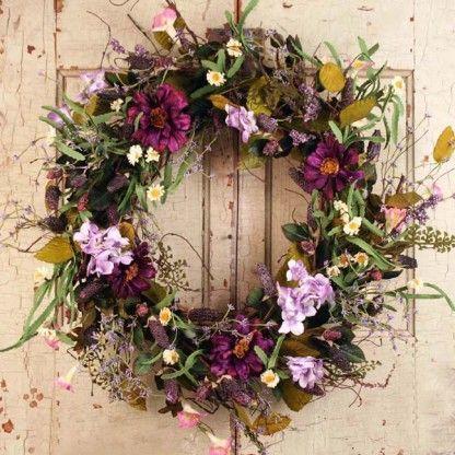 Spring Medley Silk Flower Spring Door Wreath 22 Inch Spring Door Wreaths Spring Wreath Silk Wreaths