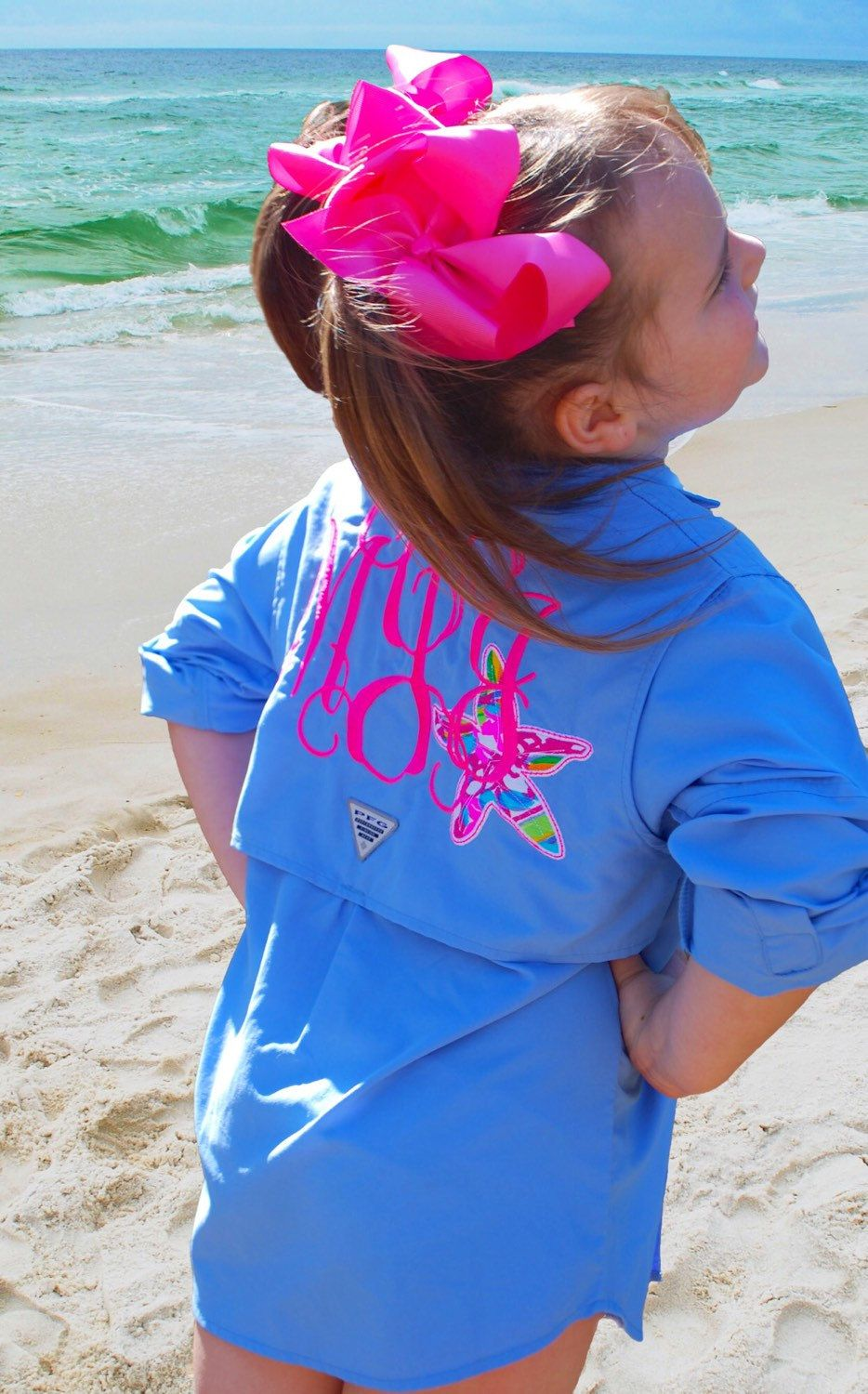 c38bcc2f8a Monogrammed Kids Columbia PFG Fishing Shirt with Lilly Pulitzer Starfish  Accent Swimsuit Cover Up by TantrumEmbroidery on Etsy