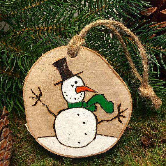 Rustic Snow Man Christmas Ornament Handmade By
