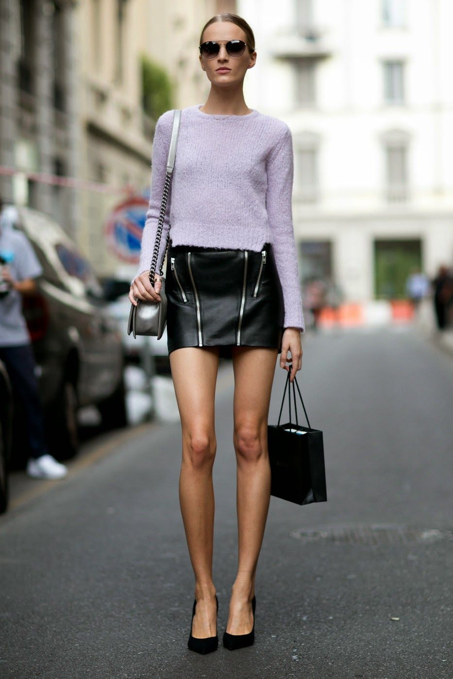 Model Street Style: Daria Strokous' Leather Mini Skirt | Fashion ...