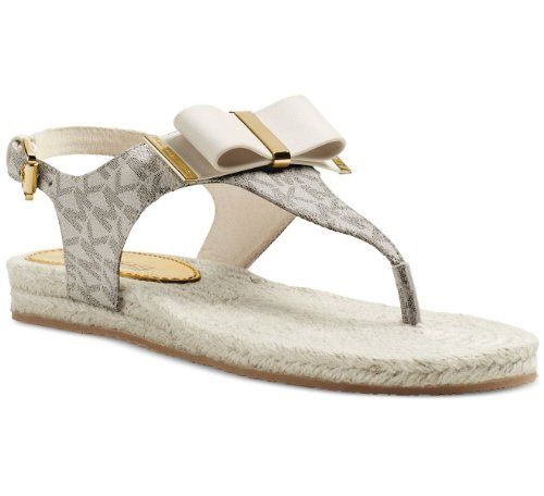 12df78ec58f0  deal Michael Michael Kors Meg Thong Signature Sandals in Vanilla (Size 7.5  M)