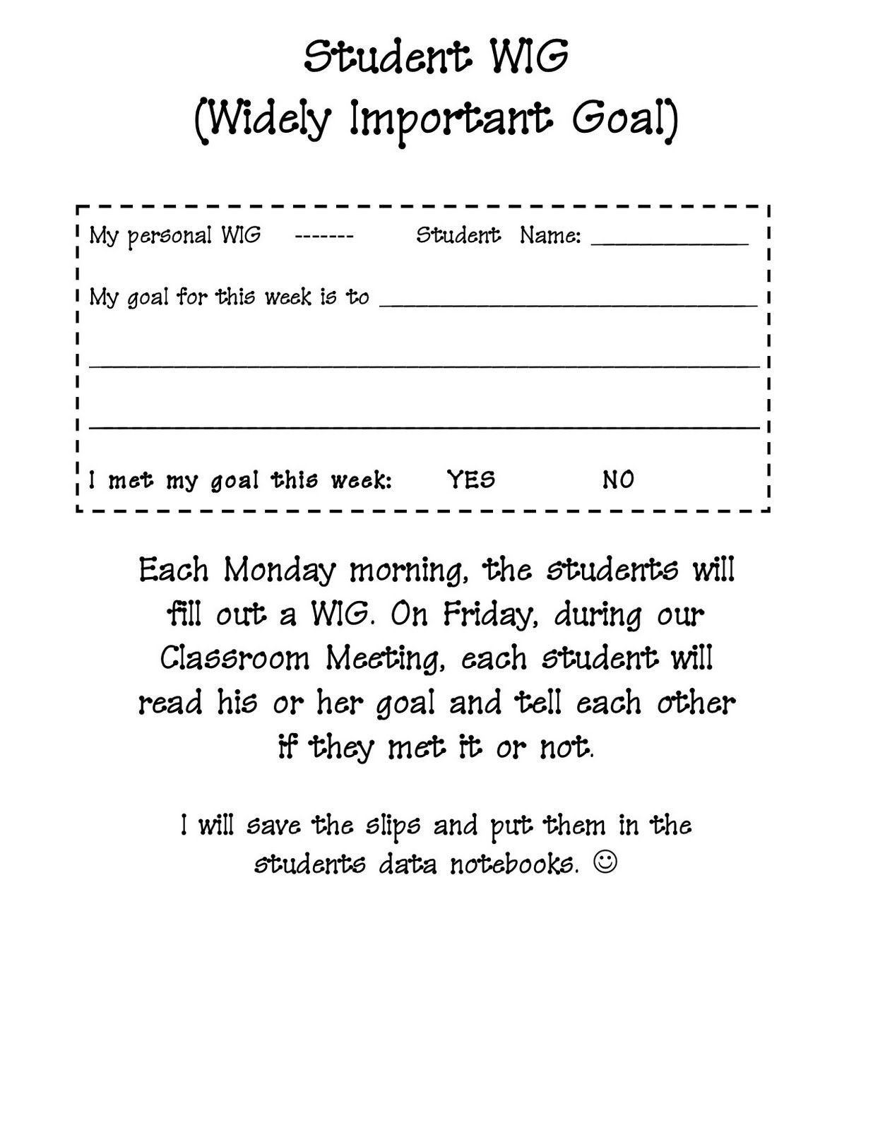 Wildly Important Goals Worksheet Pin By Megan On For The