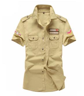 Mens Short Sleeved Shirt with Military Insignia's #shortsleevedressshirts