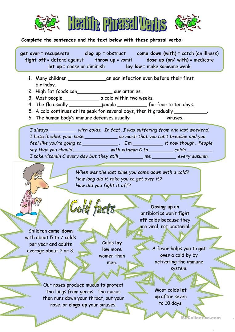 Health Phrasal Verbs Verb worksheets, Nouns and pronouns