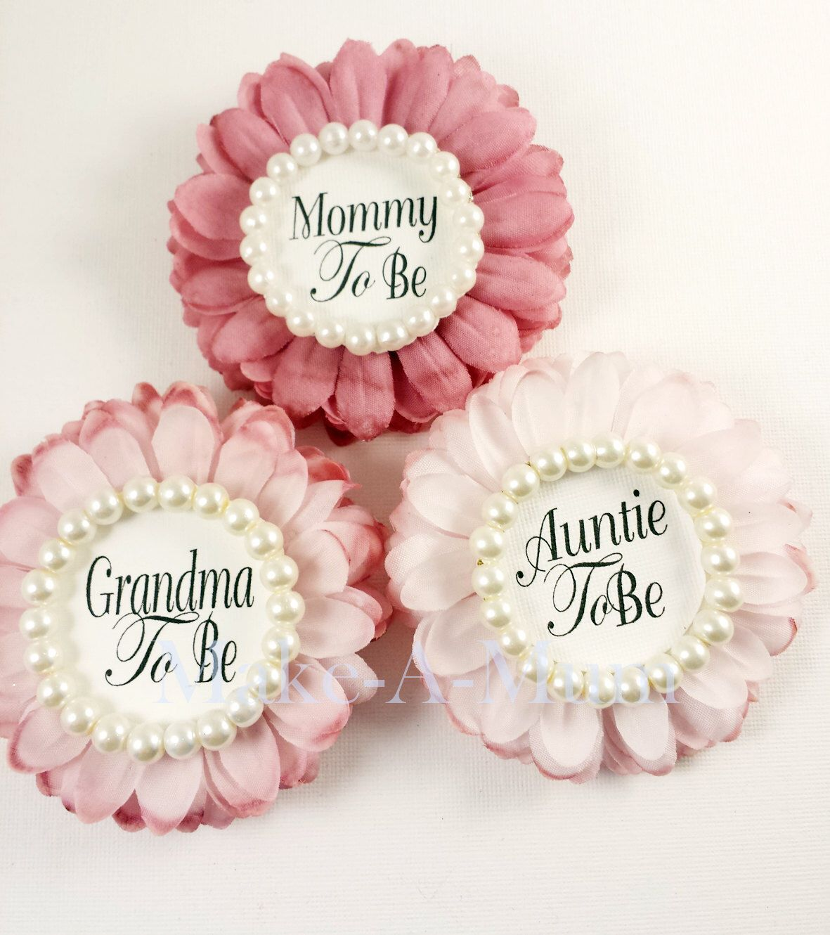 3 Hand-dyed Baby Shower Corsage,baby shower favors,Mommy To be Pin ...