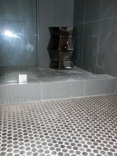 Nickel tile floor a diy bathroom renovation penny tile mosaics instead of penny tile nickel tile start w cardboard template set fiberglas pronofoot35fo Choice Image