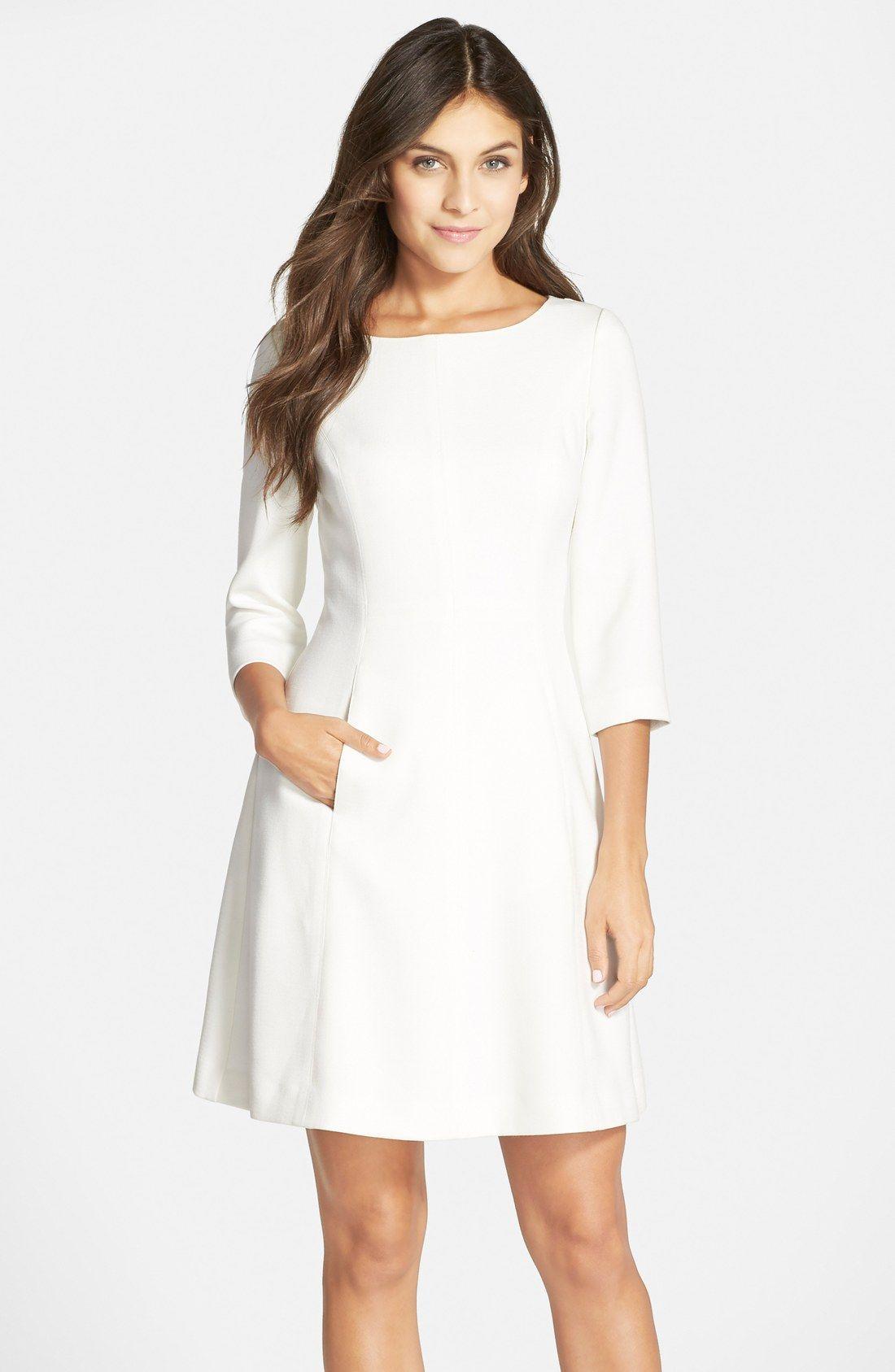 Vince Camuto Crepe A Line Dress Regular Petite Nordstrom Dresses A Line Dress White Dresses For Women [ 1687 x 1100 Pixel ]