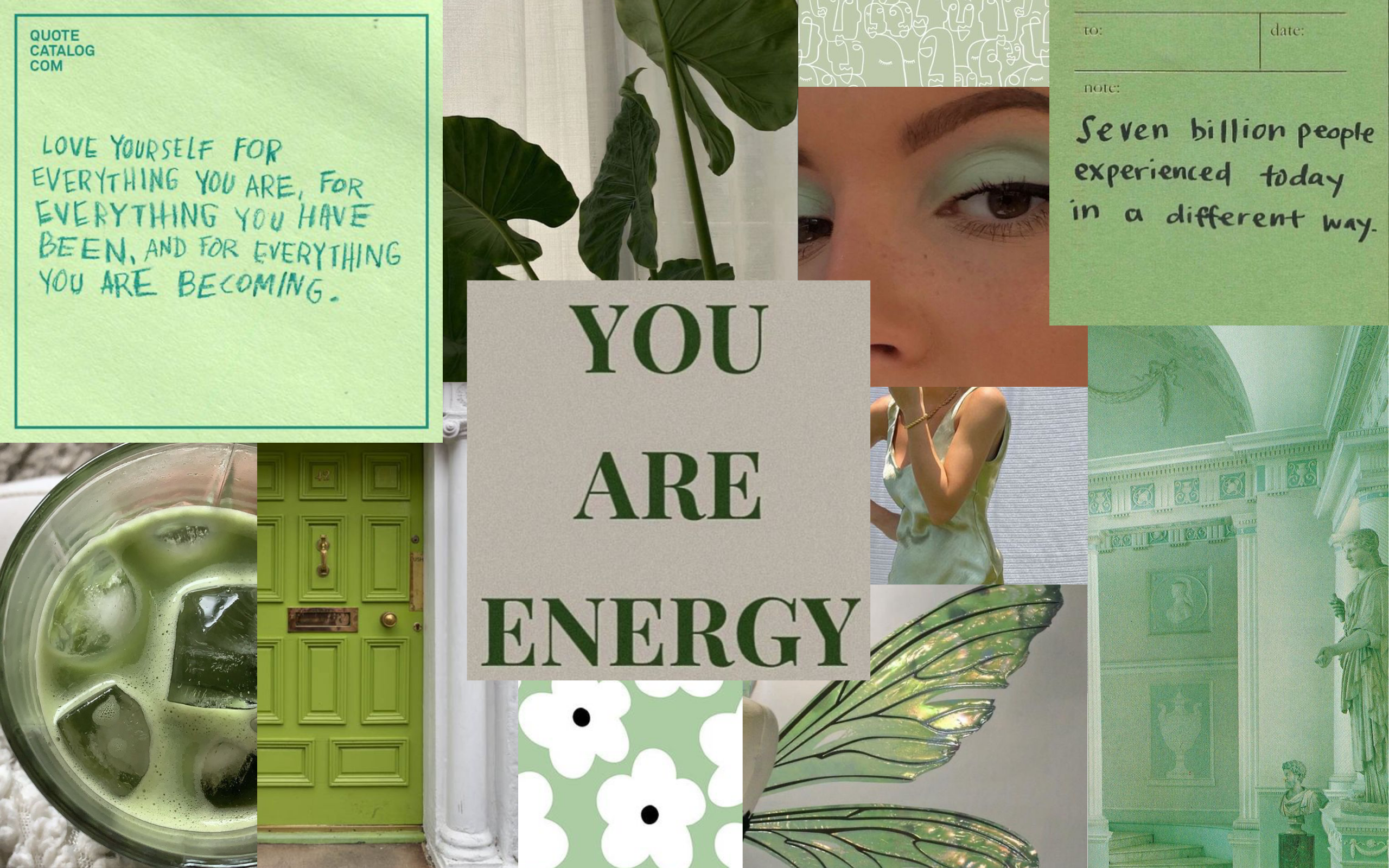 Sage Green Macbook Collage Wallpaper Collage Book Quote Catalog Wallpaper