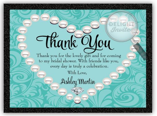 diamonds pearls bridal shower thank you cards di 1507ty custom invitations and announcements for all occasions by delight invite