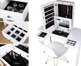 19++ Vanity table with jewelry storage information