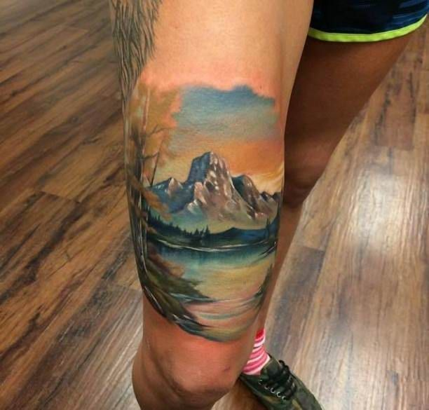 tattoo mountain landscape with lake title tattoo pinterest tattoo tatting and tatoos. Black Bedroom Furniture Sets. Home Design Ideas