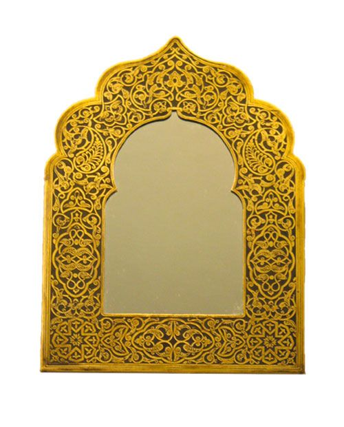 Brass Mirror Hand-Engraved with Arabesque Patterns | Dream Home ...