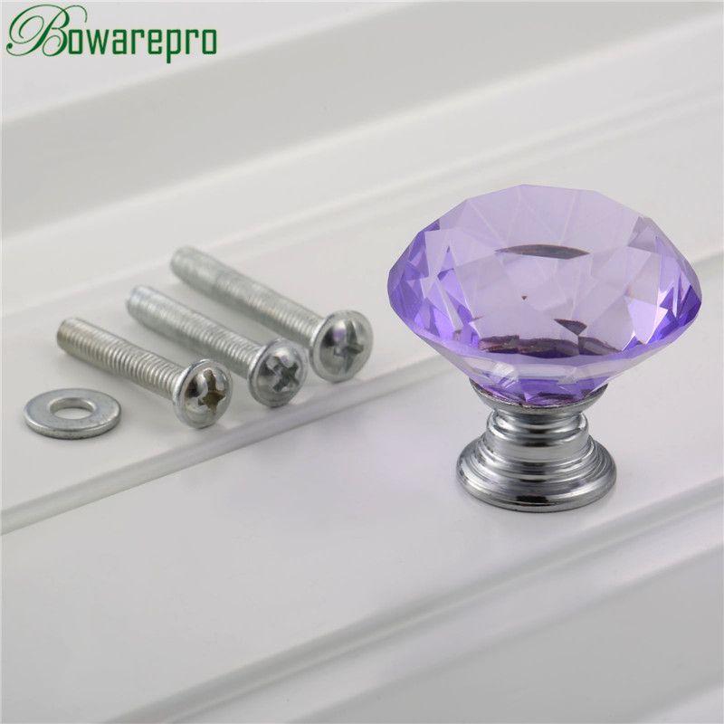 Bowarepro Diamond Crystal Glass Filing Cabinet Furniture Hardware Pull  Handle Handle Kitchen Handles Knob+3Pcs