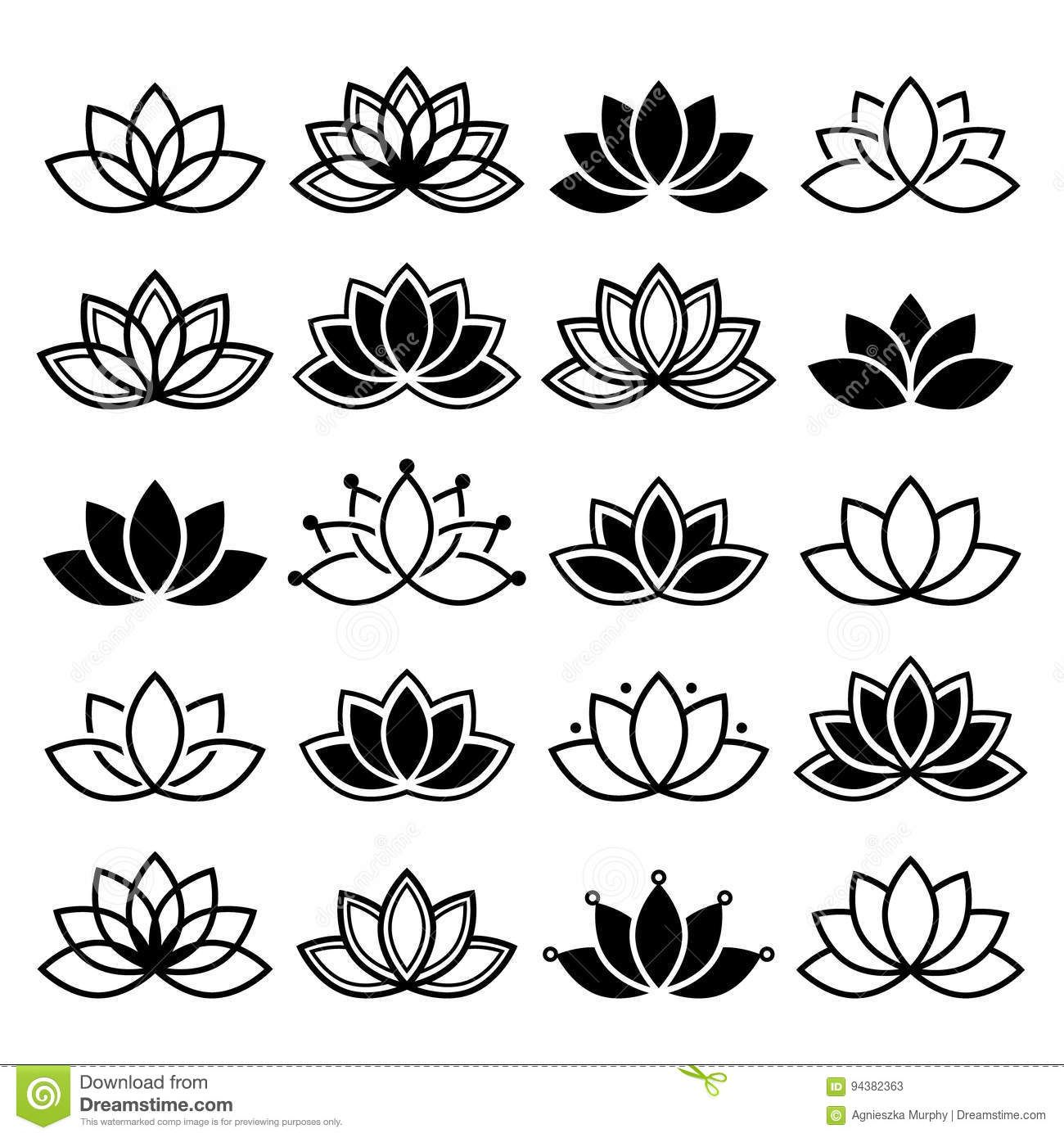 Photo About Black And White Lotus Flowers Icons Different Shapes