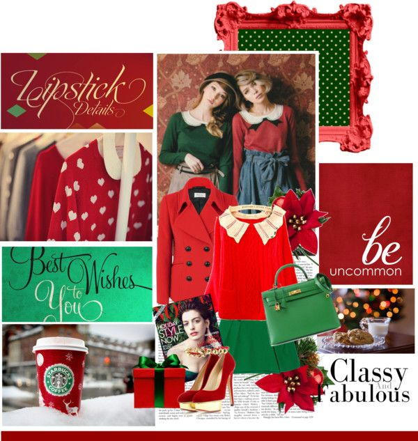 """A touch of red & green"" by ohmylady ❤ liked on Polyvore"