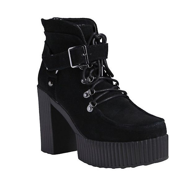 T.U.K. Black Suede Platform Booties Hot Topic ($141) ❤ liked on Polyvore featuring shoes, boots, black boots, high heel boots, suede high heel boots, black buckle boots and lace up boots
