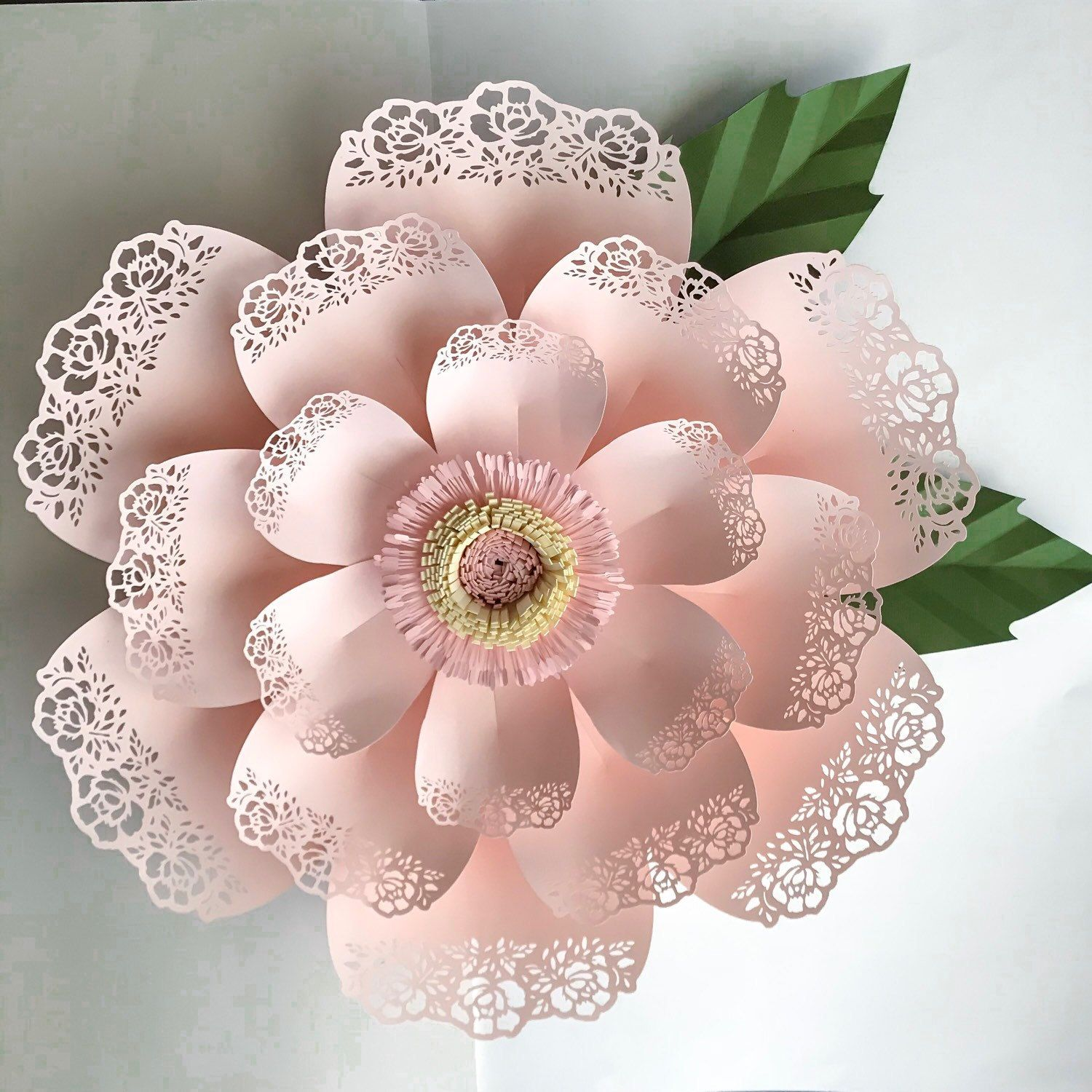 Paper Flowers Svg Lace Template 5 Fringe With Stripe