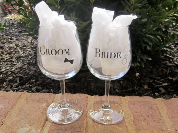 Glass Wedding Gifts: Whimsical Bride/Groom Wine Glasses. Wedding Glasses
