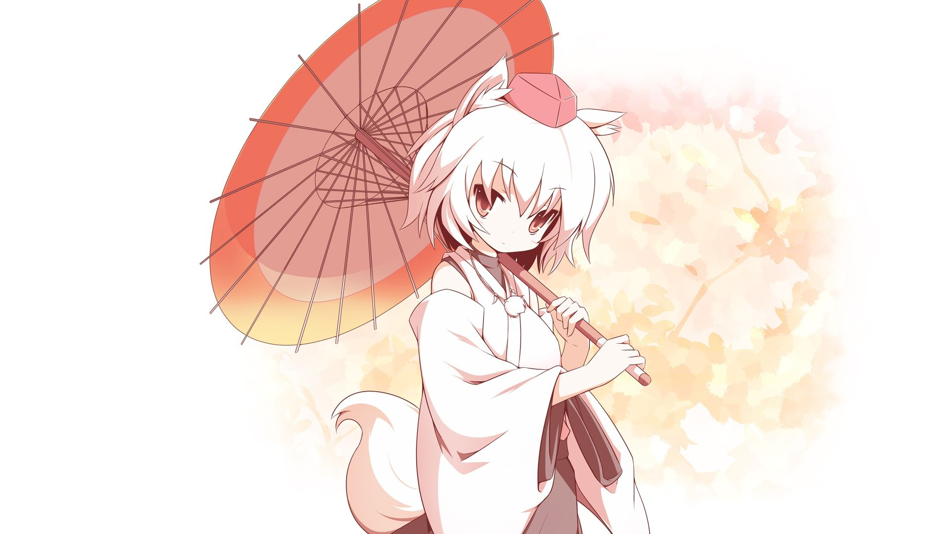 download wallpaper 1920x1080 girl a creature ears tail umbrella lights full hd 1080p hd background 画 東方プロジェクト アニメ