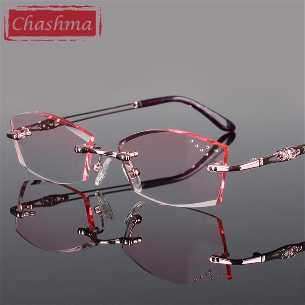 e3aa277d4d7a Chashma Pure Titanium Fashionable Lady Eye Glasses Diamonds Rimless Spectacle  Frames Women