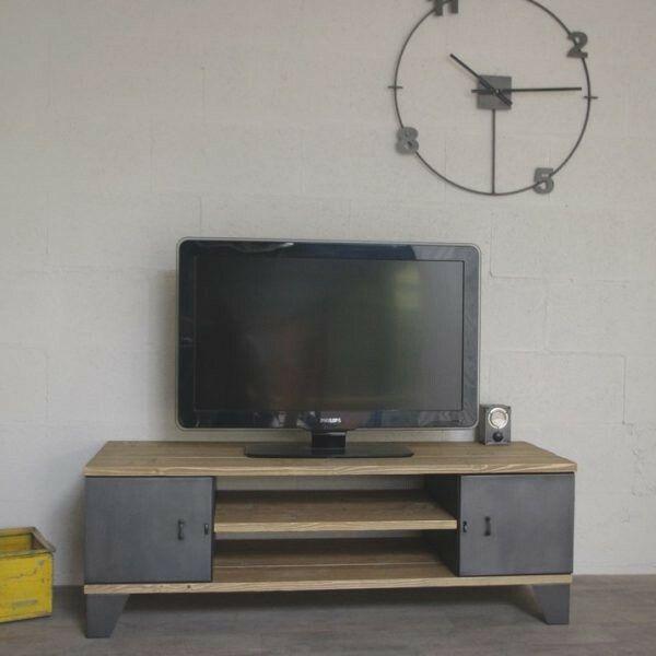 Meuble tv industriel avec des anciens casiers portes restaur s et finition anthracite - Restauration meuble industriel ...