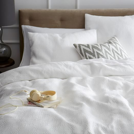 Organic Matelasse Duvet Cover Shams Stone White West Elm