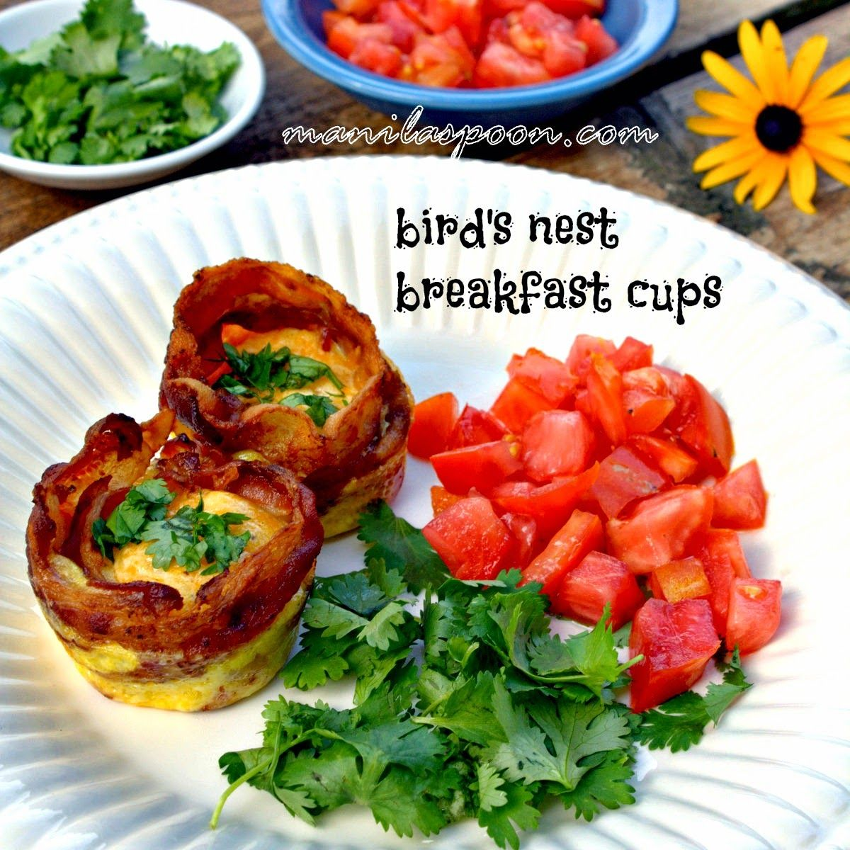 Have this Bird's Nest Breakfast Cups (Baked Bacon and Eggs flavored with Mexican Cheese and a little cayenne pepper!) as a great start to your day! Have a lovely one!