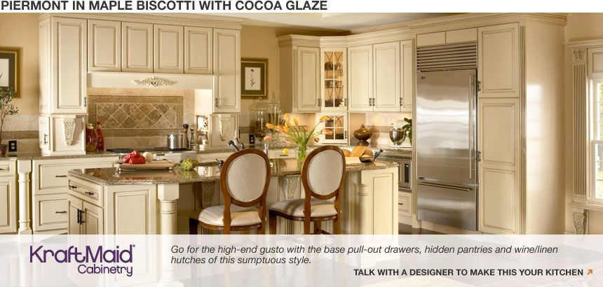 Custom Glazed Kitchen Cabinets home depot piermont in maple biscotti with cocoa glaze custom