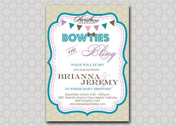 Bow ties and bling baby shower invitation digital printable bow ties and bling baby shower invitation digital printable invite gender neutral filmwisefo Image collections
