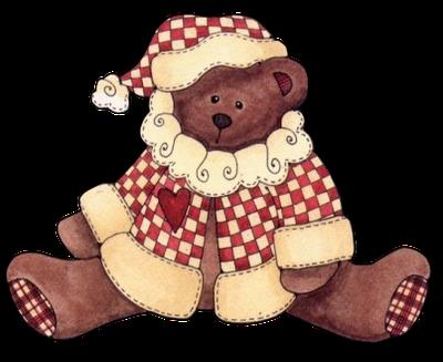 ..santa bear in a checked coat and hat Christmas bear