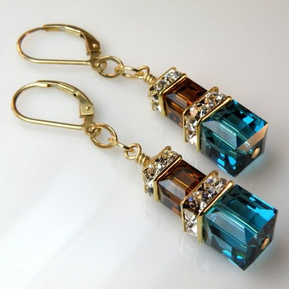 Teal and Chocolate Earrings, Gold Filled, Blue and Brown Swarovski Cube Tree Earrings, Custom Bridesmaid Fall Wedding Handmade Jewelry ,  #Blue #Bridesmaid #Brown #Chocolate #crystalearring #cube #Custom #Earrings #Fall #filled #gold #handmade #Jewelry #Swarovski #Teal #Tree #wedding