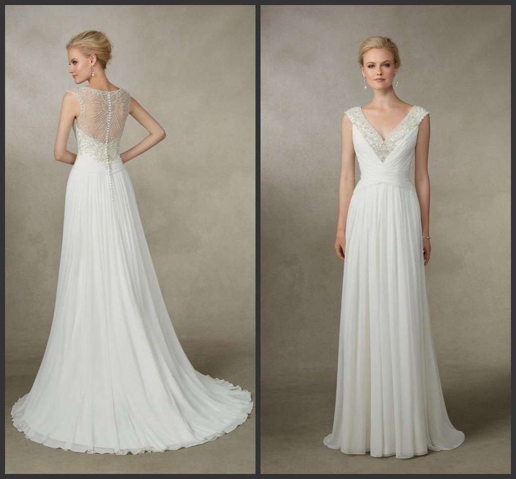 Grecian chiffon wedding dress dress for country wedding guest