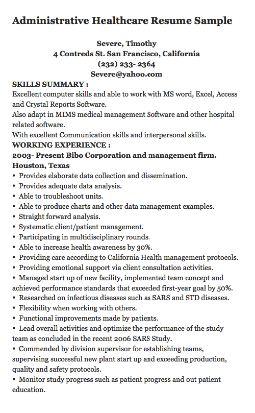 administrative healthcare resume sample severe timothy 4 contreds