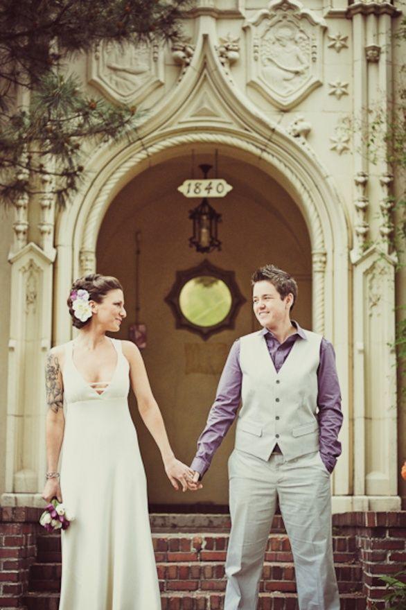 Lesbian wedding, Andrea Flanagan gray and purple colors | wedding ...