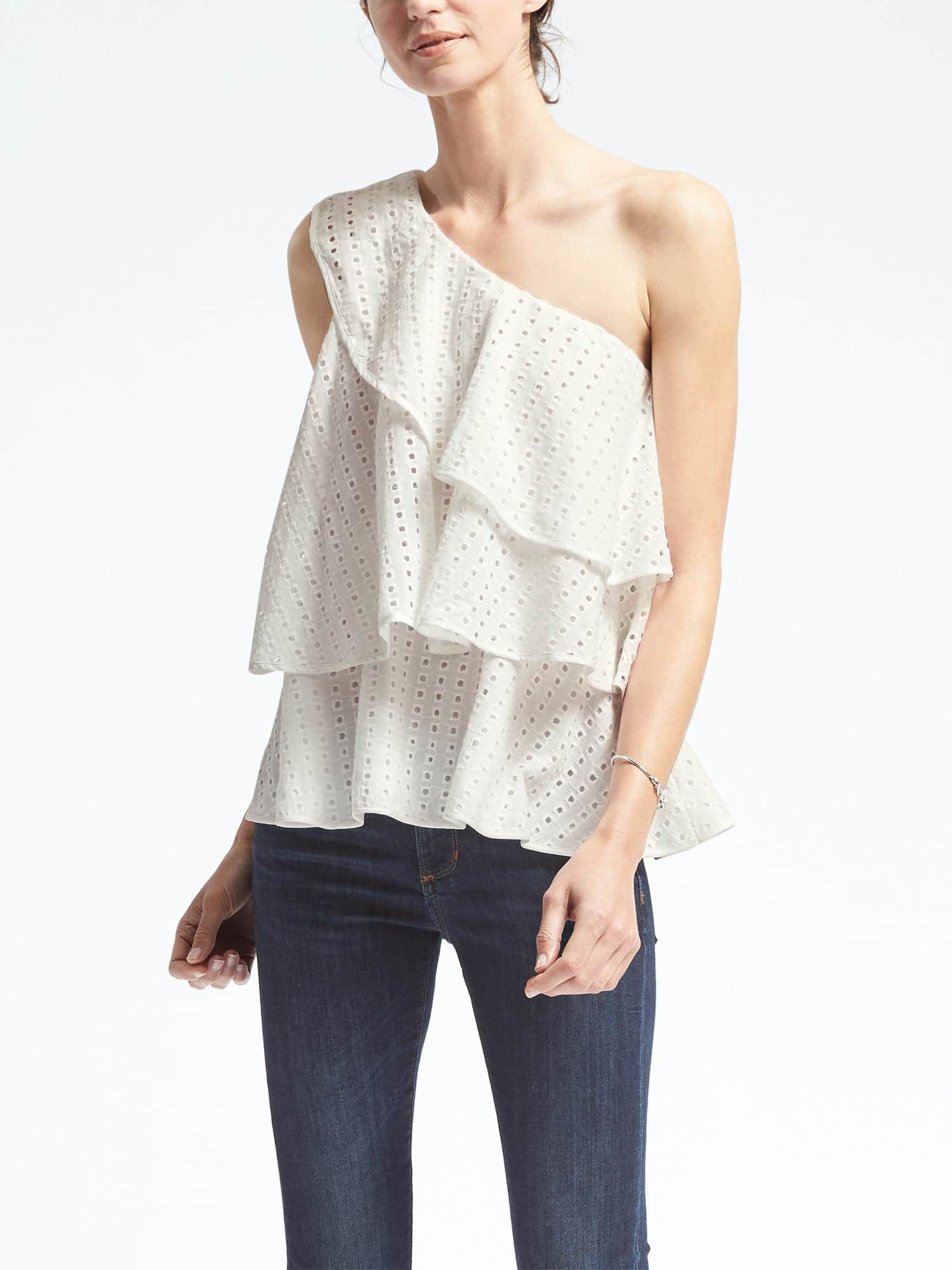 1bdeaed156d Limited Edition Tiered Eyelet One Shoulder Top   Banana Republic ...