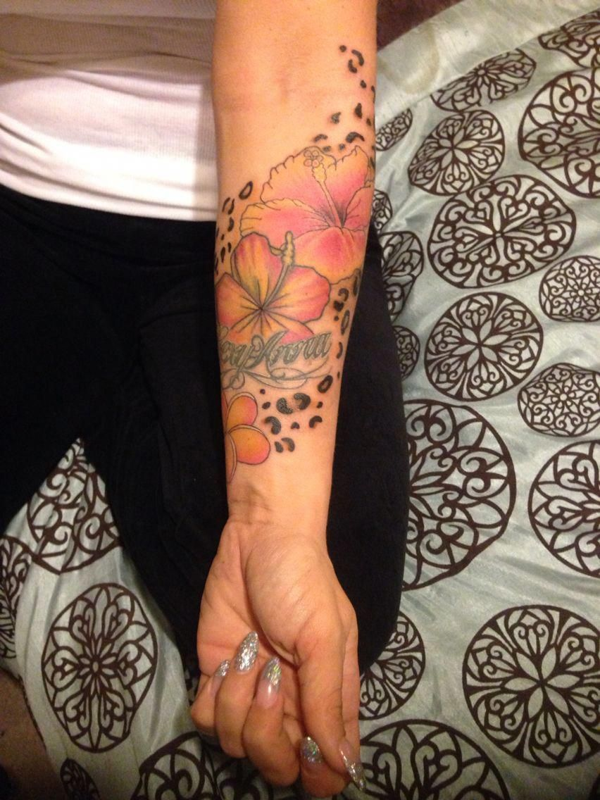 Leopard Hawaiian Flower Half Sleeve Tattoo Hawaiiantattoos