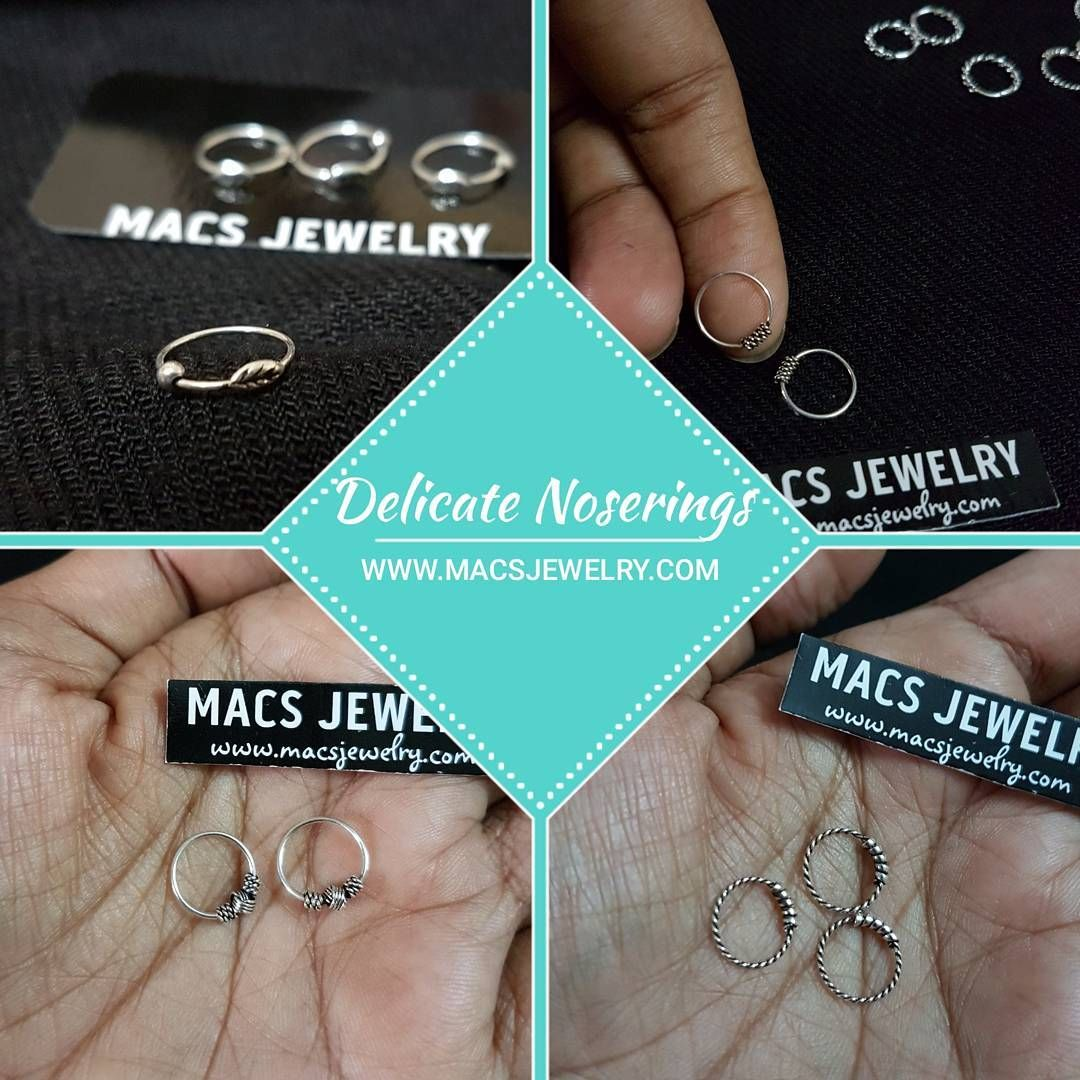 "Delicate silver noserings by MACS Jewelry (@macsjewelry) on Instagram: ""Delicate noserings♥ SWIPE FOR MORE IMAGES!  These dainty and delicate cute rings are the thinnest…"""