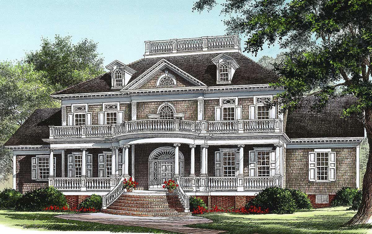 Plan 32618wp Grand Front Veranda House Plans Luxury Plan House Floor Plans